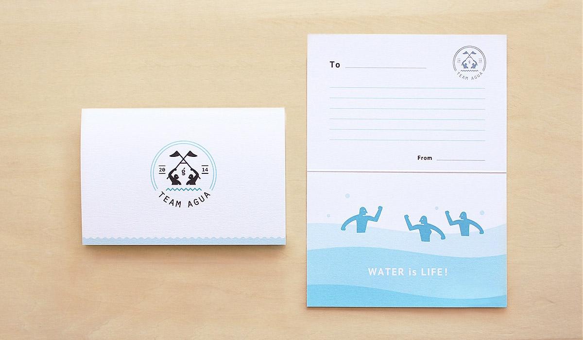アクアフィットネスチームのグリーティングカード-アルニコデザイン